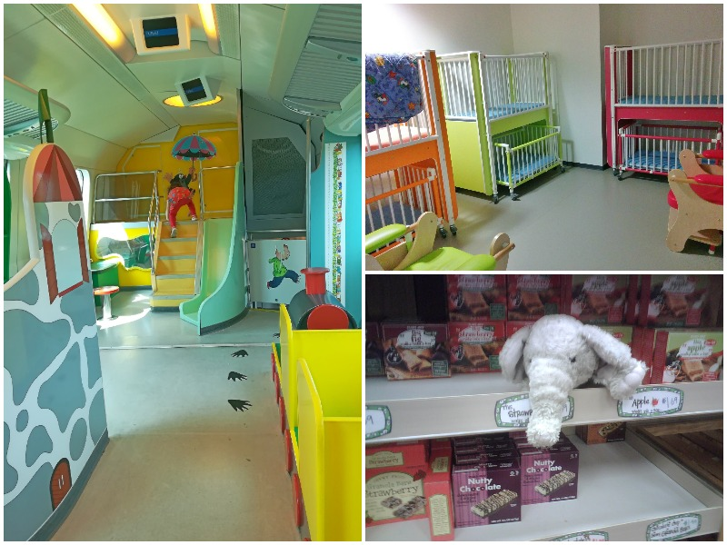 A playroom on a train in Finland, a children's bedroom in Geneva's airport and a toy hidden in aisles in a grocery store in the US